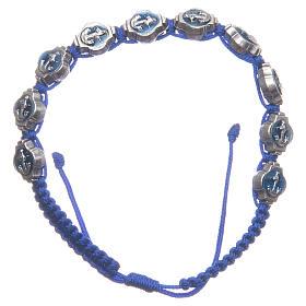 Bracelets, dizainiers: Bracelet Medjugorje émail bleu corde bleue