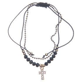 Bracelets, dizainiers: Bracelet Medjugorje corde cristaux noirs dorés