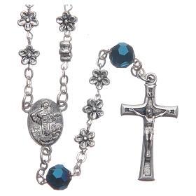 Chapelets et boîte chapelets: Chapelet Medjugorje fleurs et cristaux bleus
