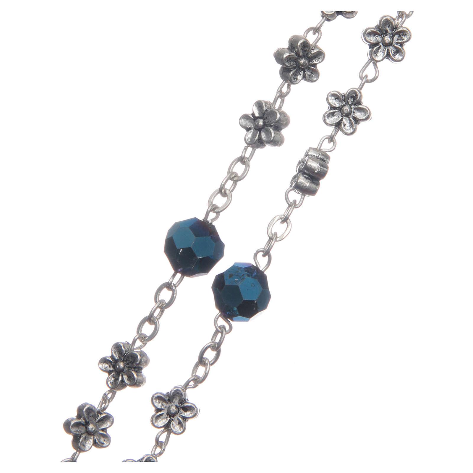 Rosario Medjugorje fiori e cristalli blu 4