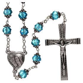 Chapelets et boîte chapelets: Chapelet Medjugorje grains cristal bleu