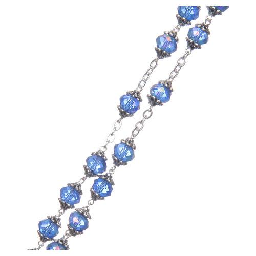 Rosario Medjugorje grani cristallo blu 3