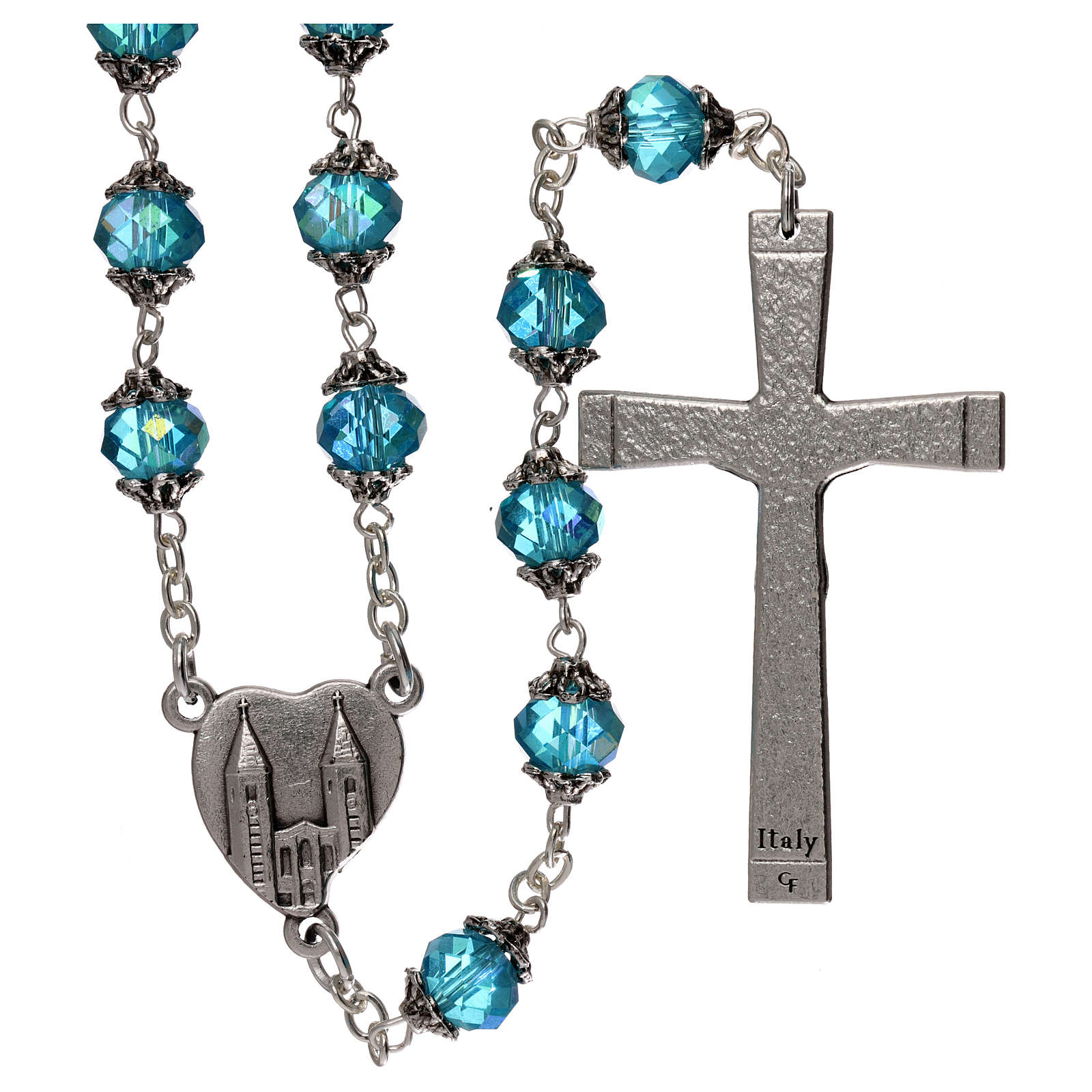Medjugorje rosary with crystal blue grains 4