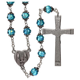 Medjugorje rosary with crystal blue grains s2
