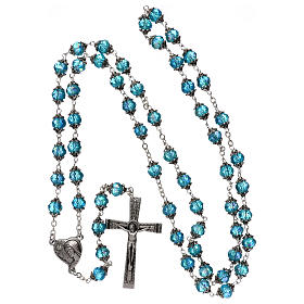 Medjugorje rosary with crystal blue grains s4