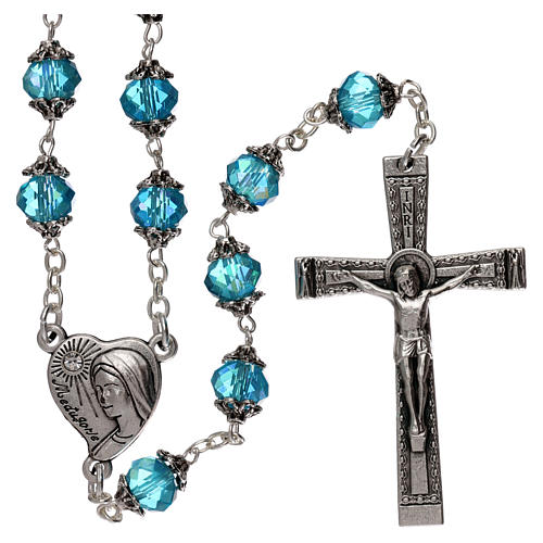 Medjugorje rosary with crystal blue grains 1