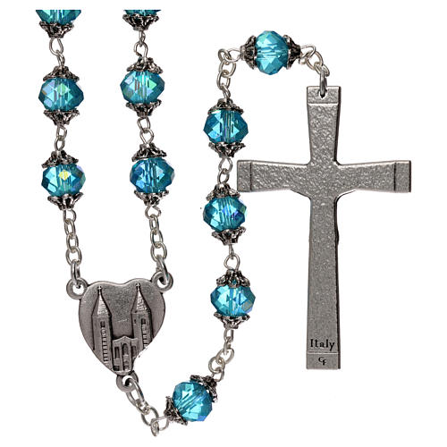 Medjugorje rosary with crystal blue grains 2