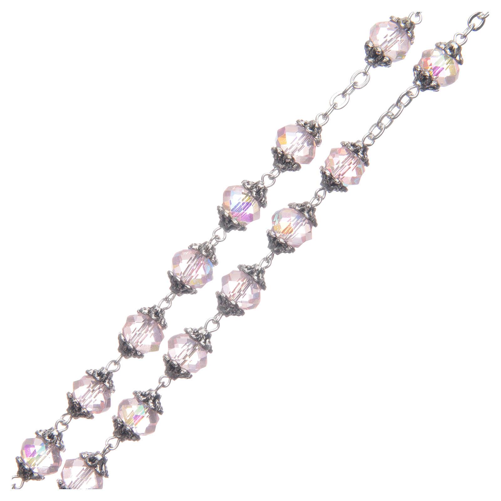 Rosario Medjugorje grani cristallo rosa 4