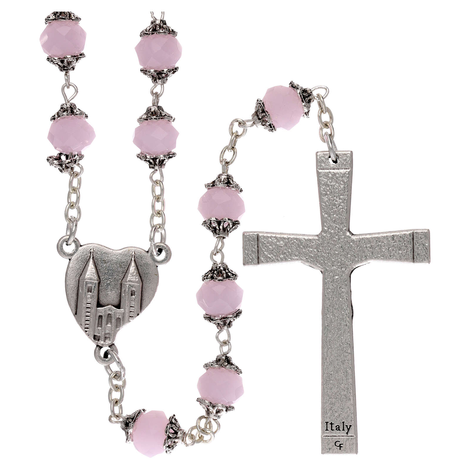 Medjugorje rosary with crystal pink grains 4