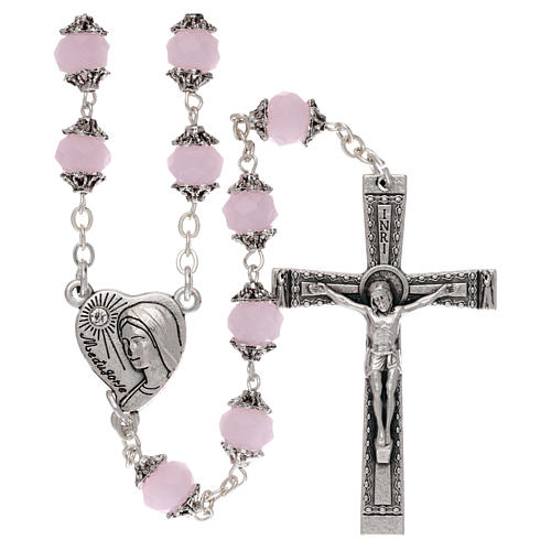 Medjugorje rosary with crystal pink grains 1