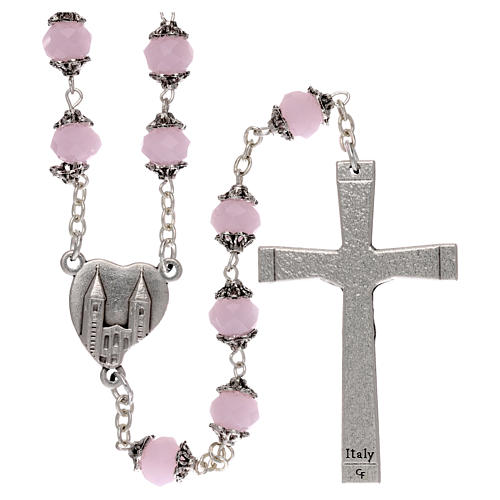 Medjugorje rosary with crystal pink grains 2