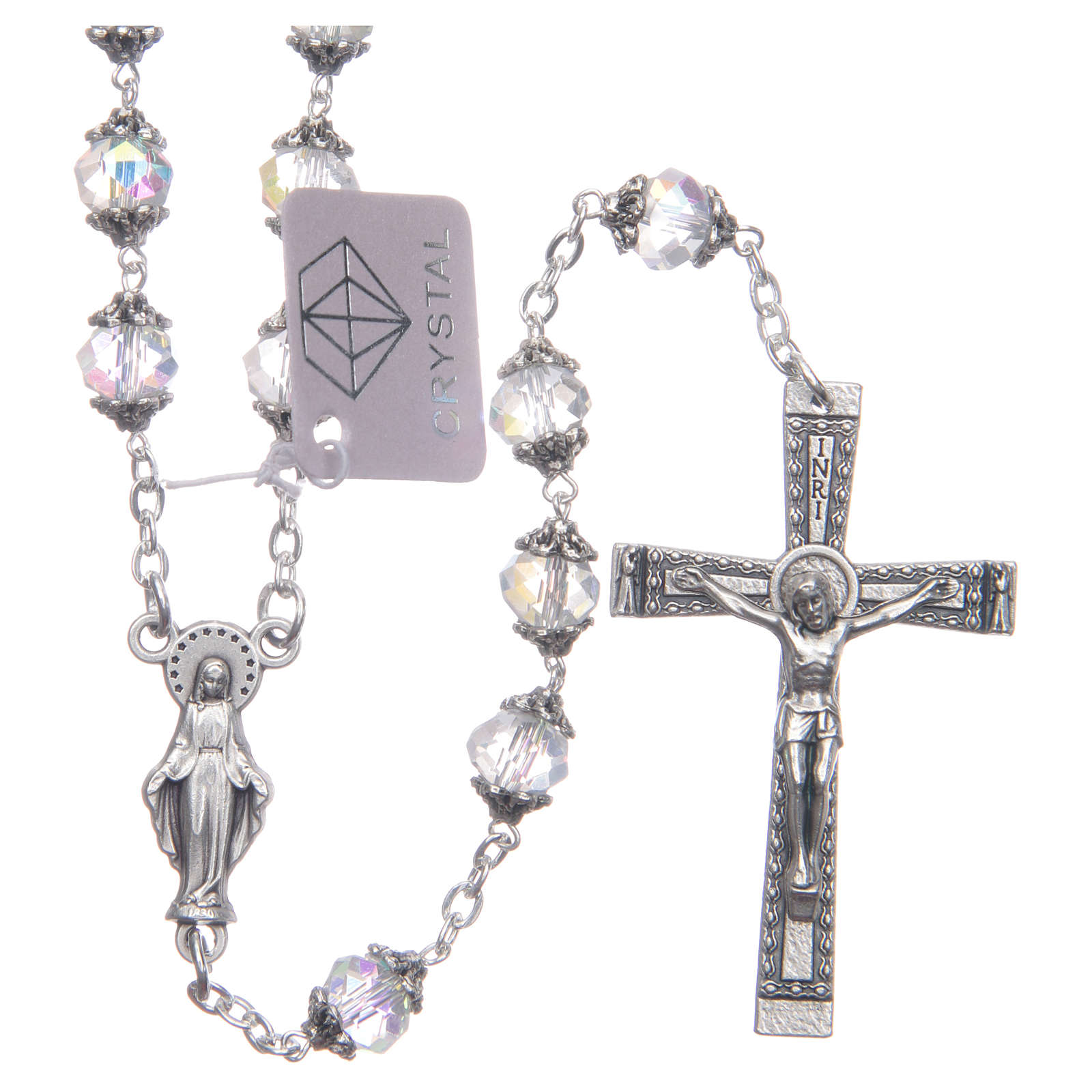 Medjugorje rosary with transparent crystal grains 4