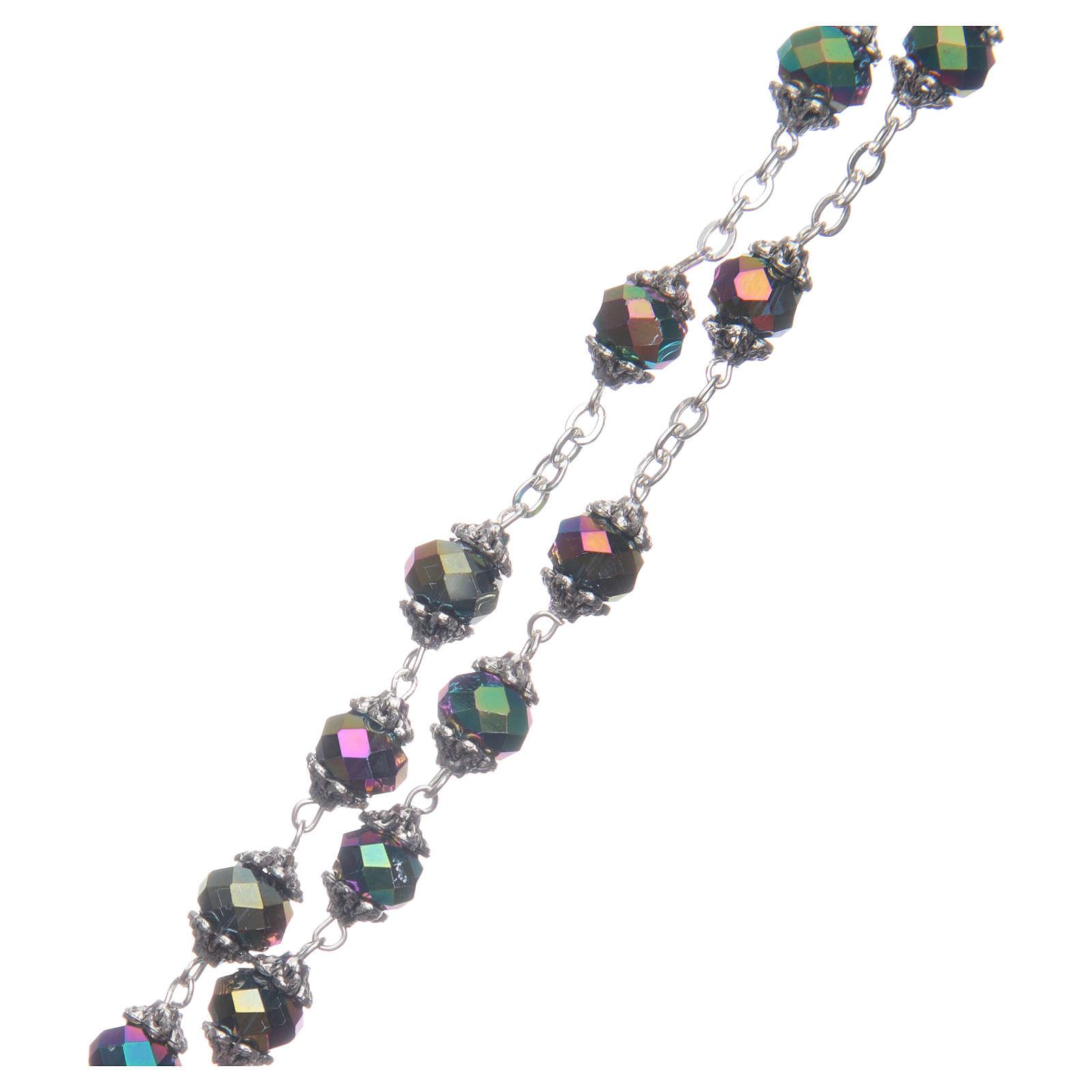 Rosario Medjugorje grani cristallo iridescente 4