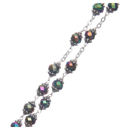 Rosario Medjugorje grani cristallo iridescente 3