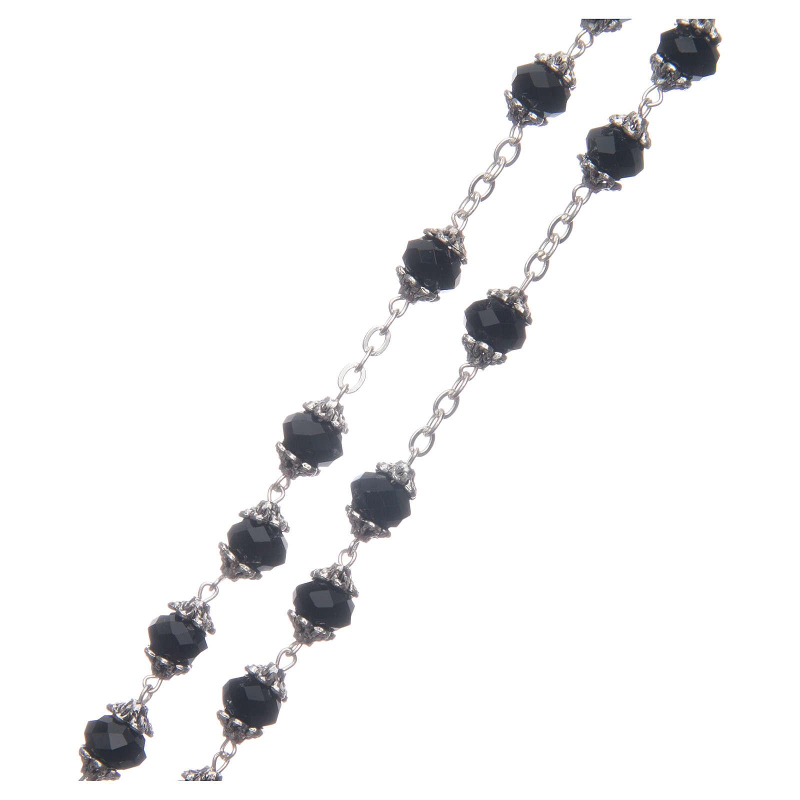 Rosario Medjugorje grani cristallo nero 4