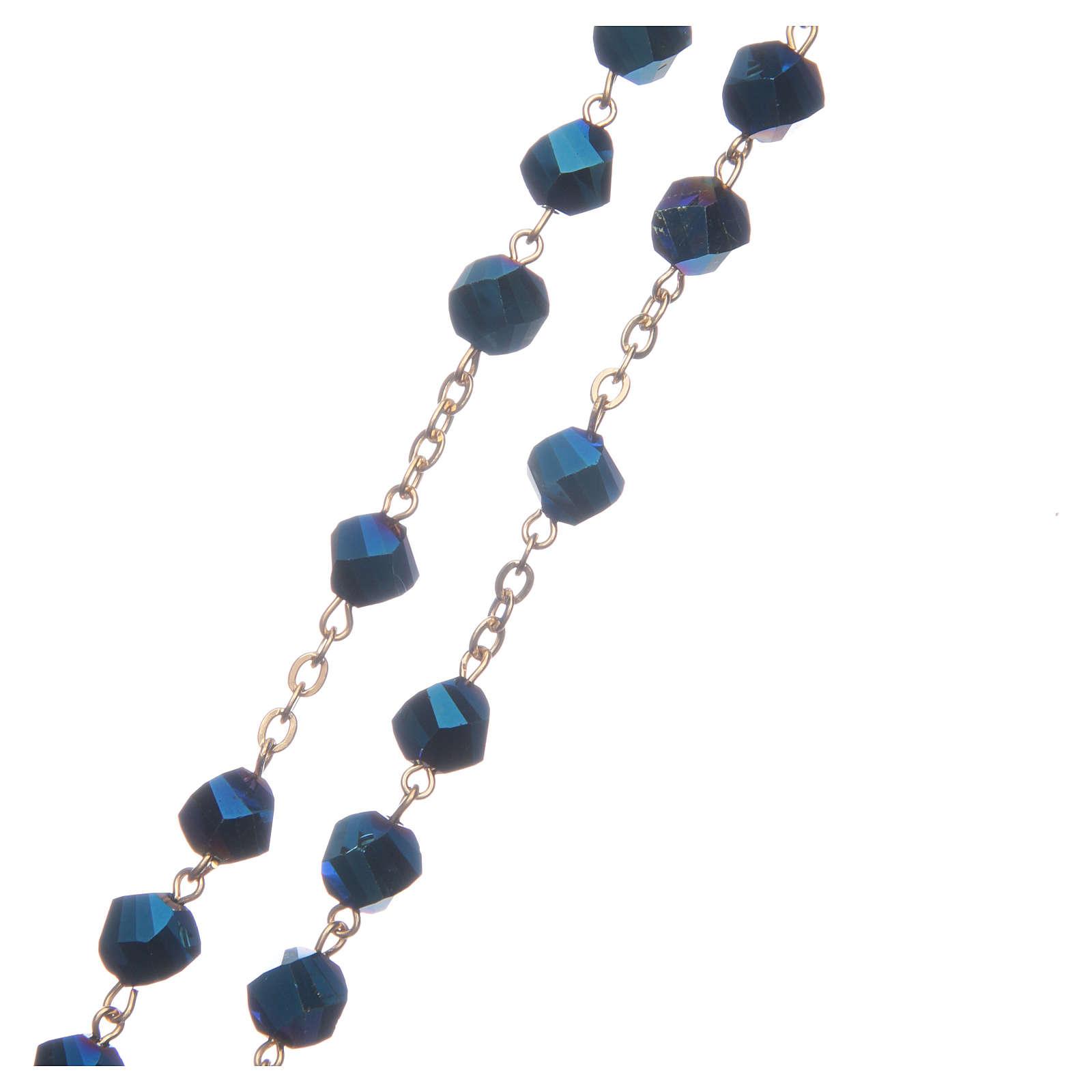 Rosario Medjugorje cristallo blu croce dorata 4