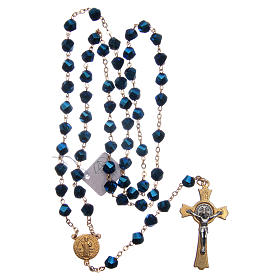 Medjugorje rosary in blue crystal with golden cross s4