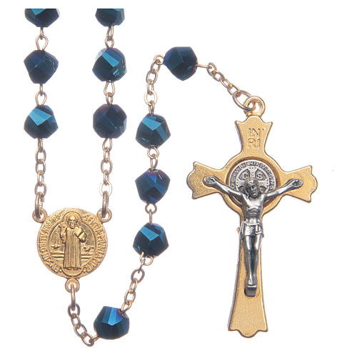 Medjugorje rosary in blue crystal with golden cross 1