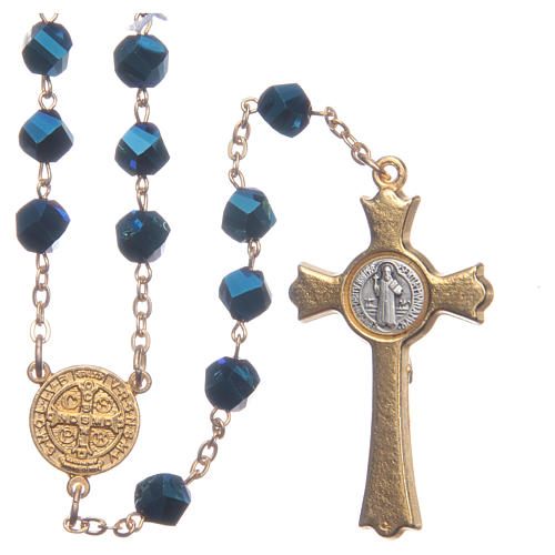 Medjugorje rosary in blue crystal with golden cross 2