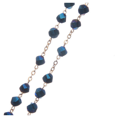 Medjugorje rosary in blue crystal with golden cross 3