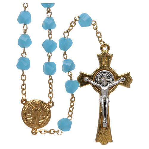 Rosenkranz aus Medjugorje mit Perlen aus hellblauen Kristallen, vergoldet