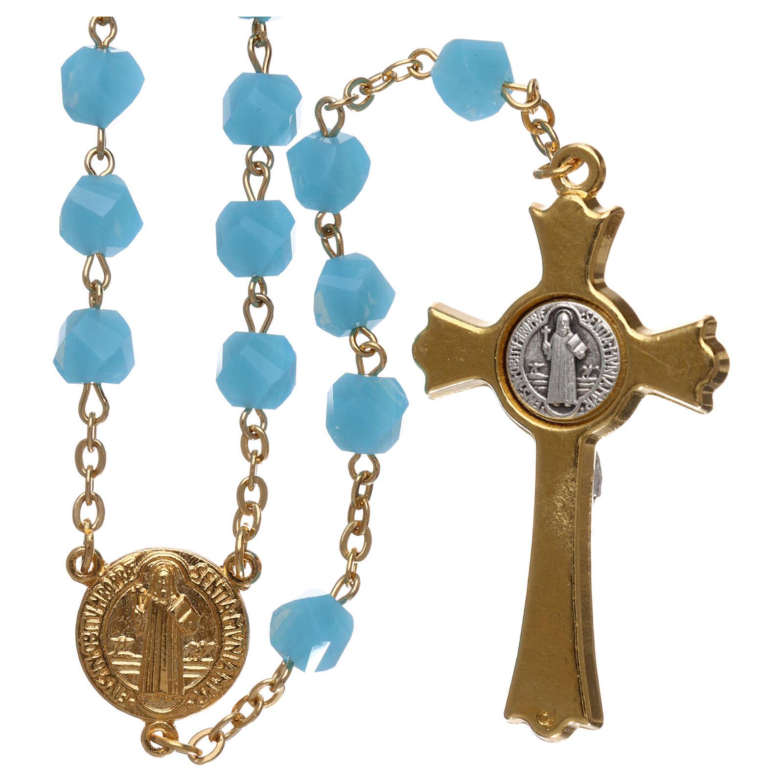 Rosario Medjugorje cristallo azzurro croce dorata 4
