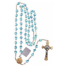 Rosario Medjugorje cristallo azzurro croce dorata s4