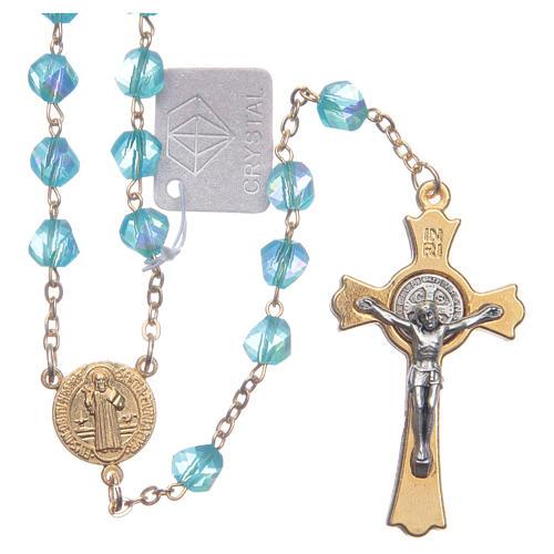 Rosario Medjugorje cristallo azzurro croce dorata 1