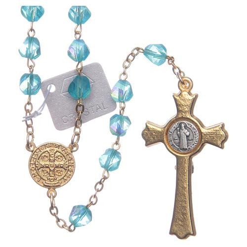 Rosario Medjugorje cristallo azzurro croce dorata 2