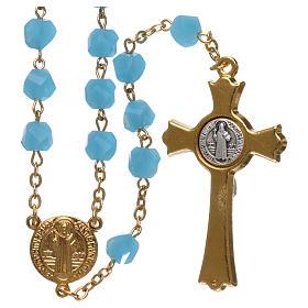 Medjugorje rosary in light blue crystal with golden cross s2