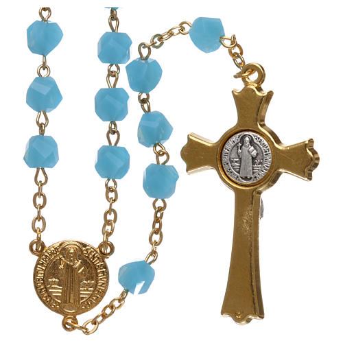 Medjugorje rosary in light blue crystal with golden cross 2