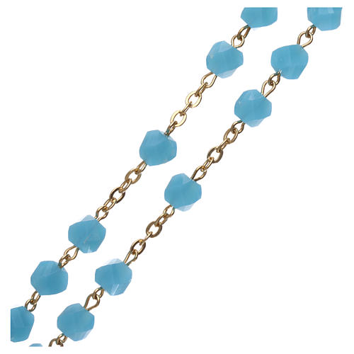 Medjugorje rosary in light blue crystal with golden cross 3