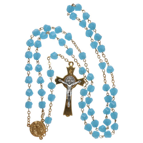 Medjugorje rosary in light blue crystal with golden cross 4
