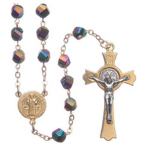 Rosenkranz aus Medjugorje, irisierende Kristallperlen, vergoldetes Kreuz