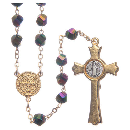 Medjugorje rosary in iridescent crystal with golden cross 2