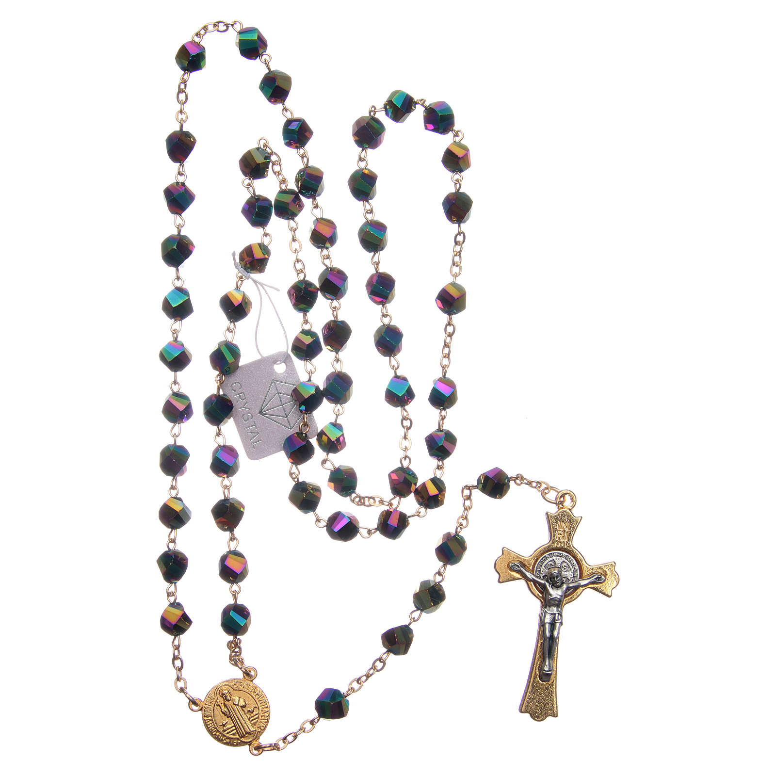 Rosario Medjugorje cristal iridiscente cruz dorada 4