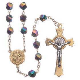 Rosario Medjugorje cristal iridiscente cruz dorada s1