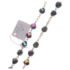 Rosario Medjugorje cristal iridiscente cruz dorada s3