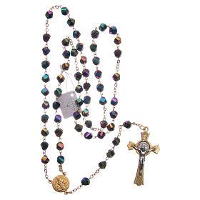 Rosario Medjugorje cristal iridiscente cruz dorada s4