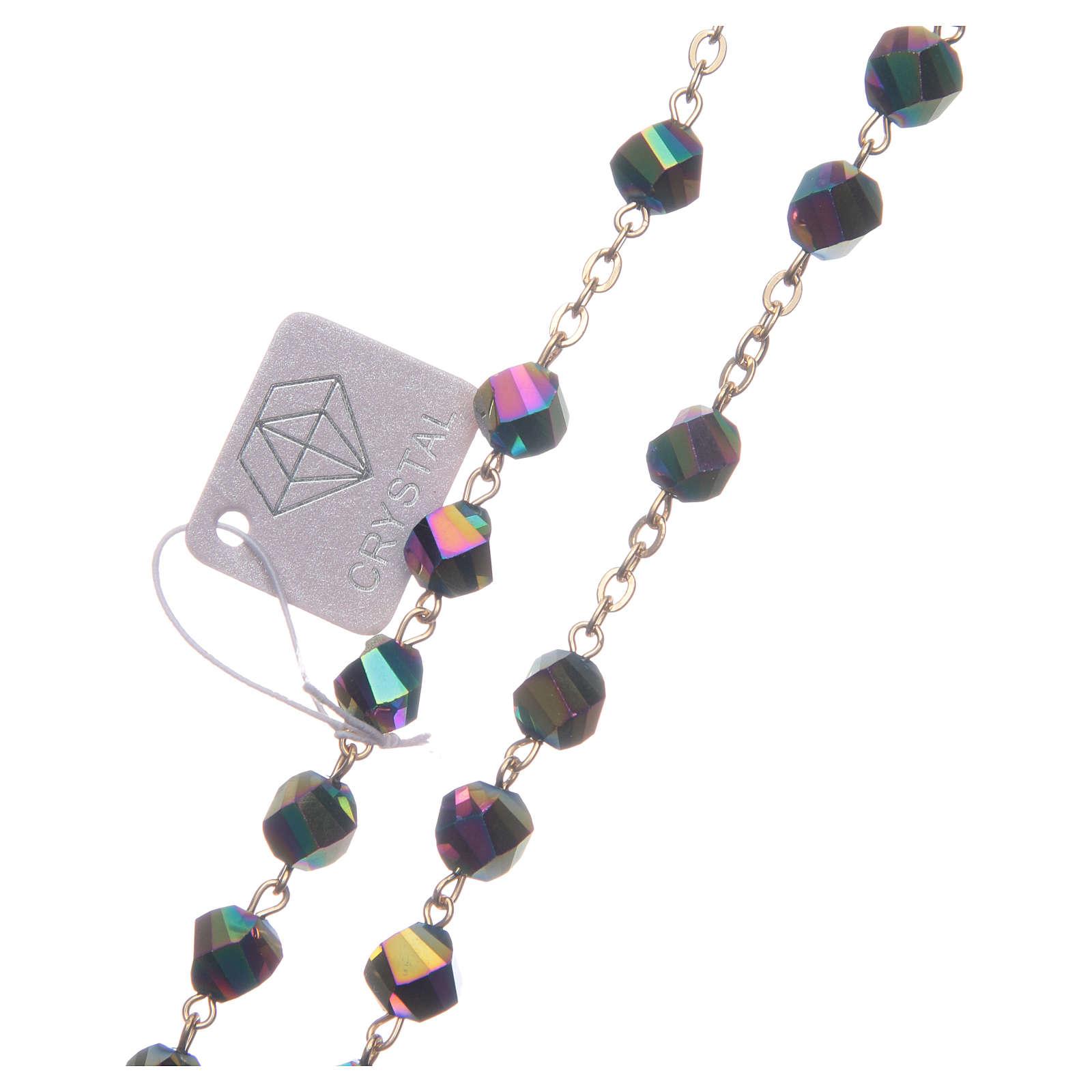 Rosario Medjugorje cristallo iridescente croce dorata 4
