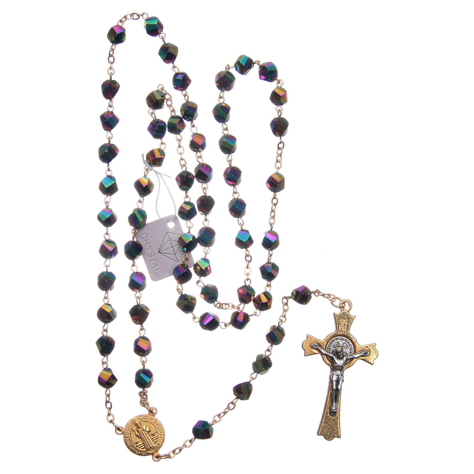 Terço Medjugorje cristal iridescente cruz dourada 4