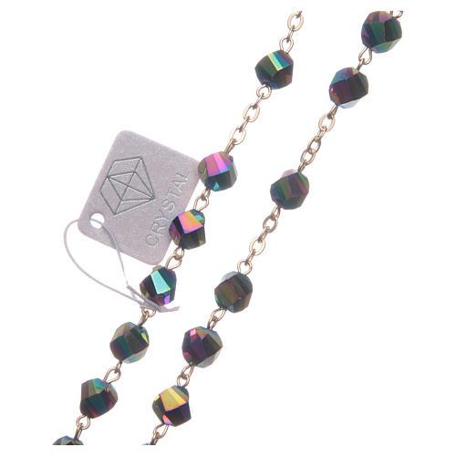 Terço Medjugorje cristal iridescente cruz dourada 3