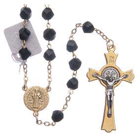 Chapelets et boîte chapelets: Chapelet Medjugorje cristal noir croix dorée