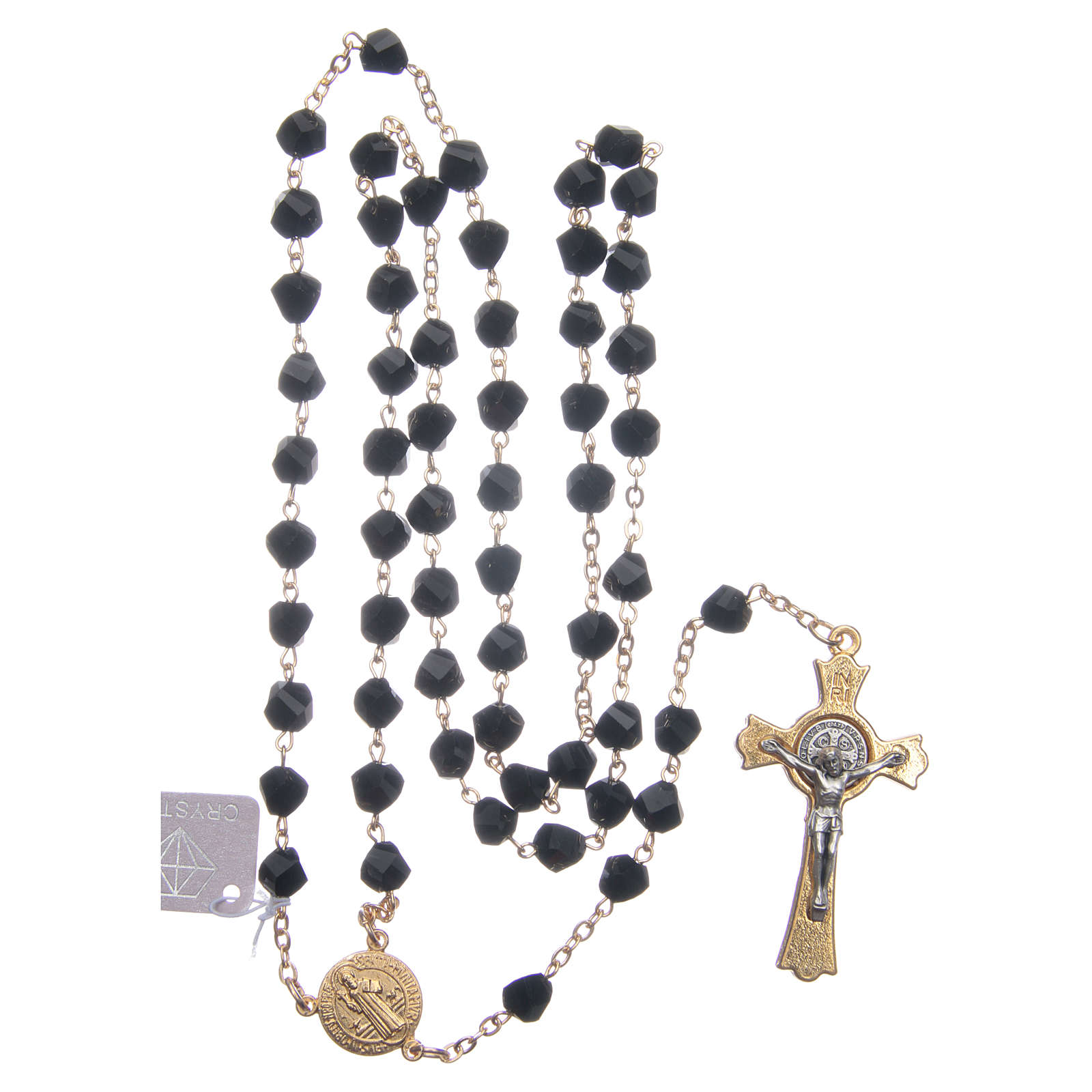 Rosario Medjugorje cristallo nero croce dorata 4