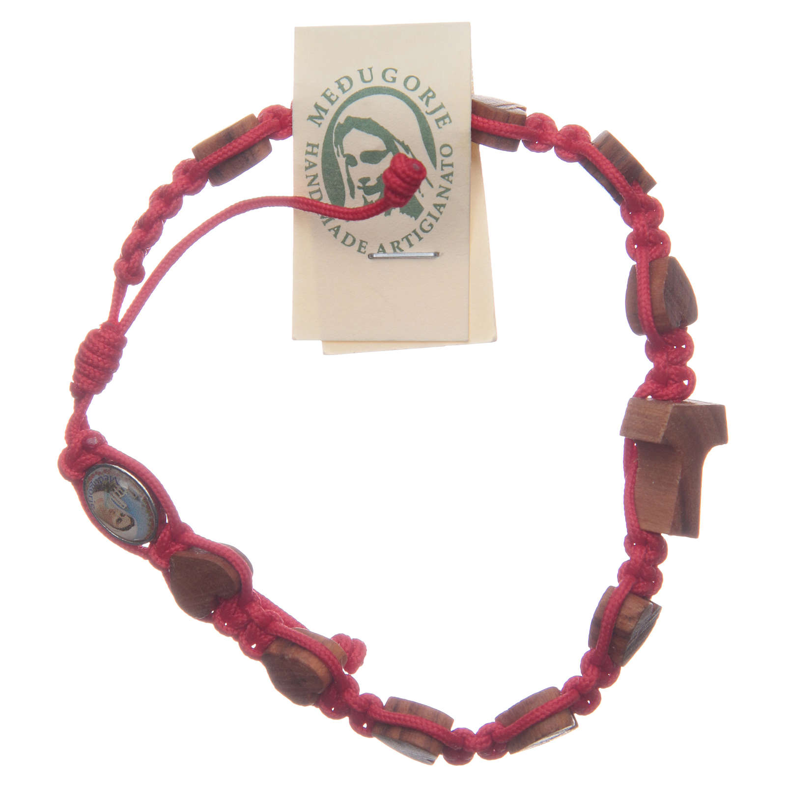 Pulsera Medjugorje cuerda roja corazones tau olivo 4
