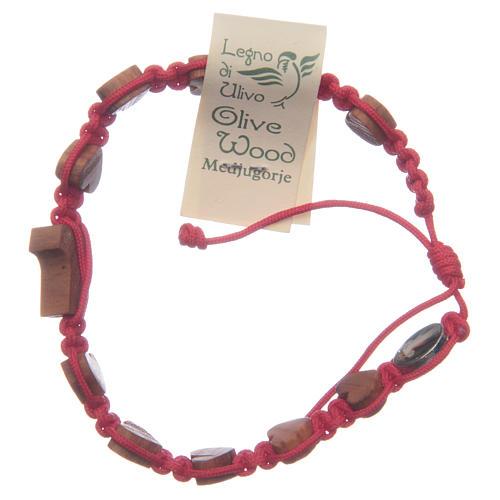 Pulsera Medjugorje cuerda roja corazones tau olivo 2