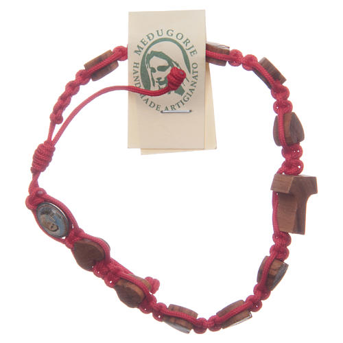 Braccialetto Medjugorje corda rossa cuori tau ulivo 1