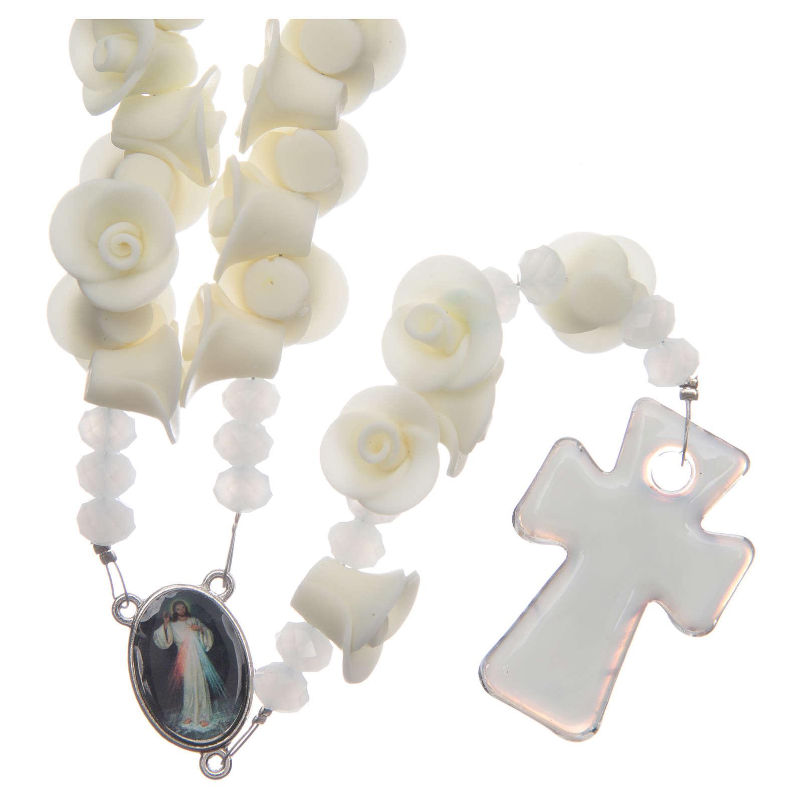 Rosario Medjugorje rosas fluorescentes cruz vidrio Murano 4