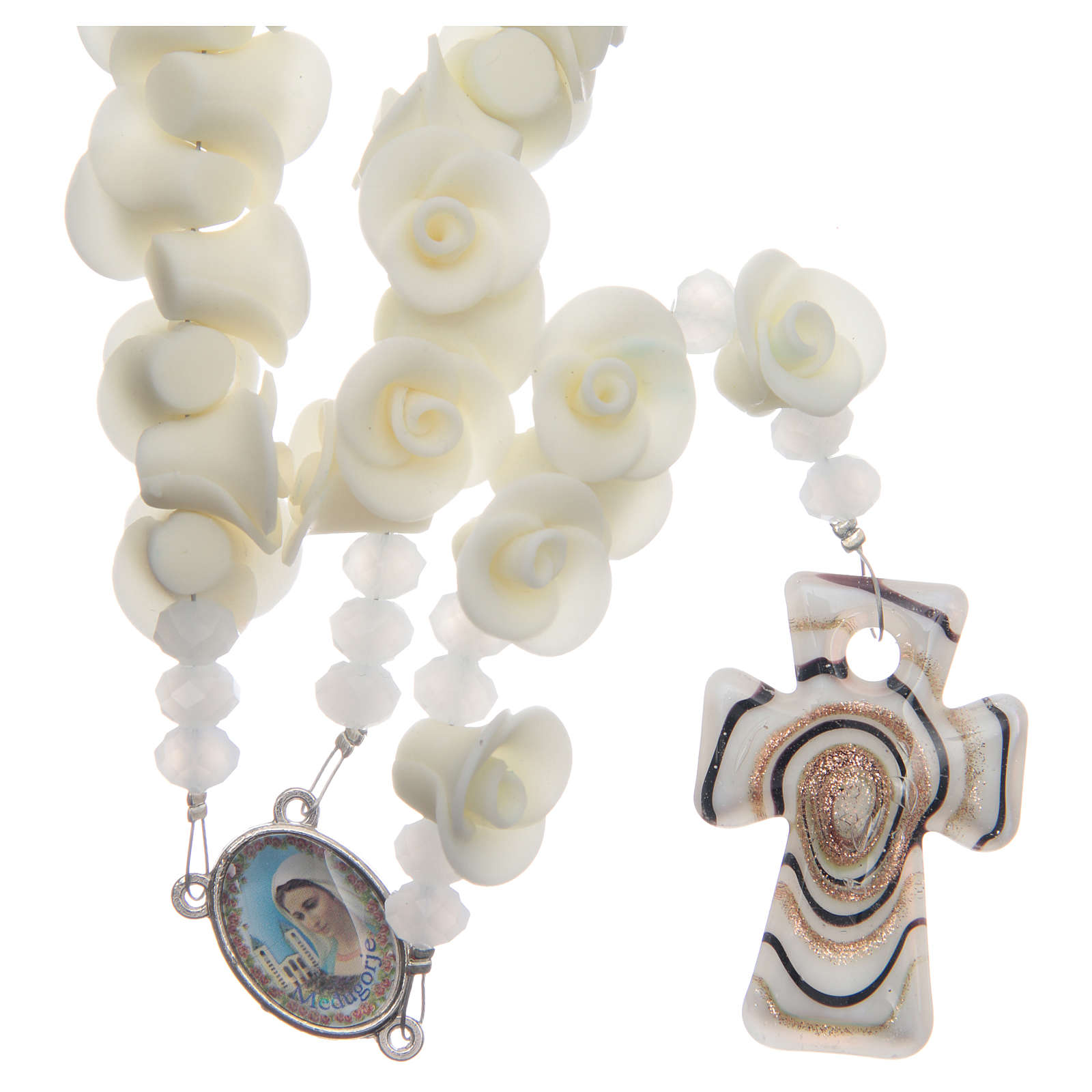 Medjugorje rosary with fluorescent roses and cross in Murano glass 4