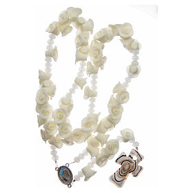 Medjugorje rosary with fluorescent roses and cross in Murano glass s3